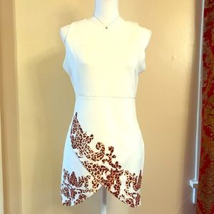 Dresses & Skirts - White Mini-dress with Leopard Detailing